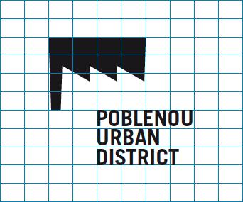 Cuadricula del Logo de Poblenou Urban District premiado con un Laus de bronce