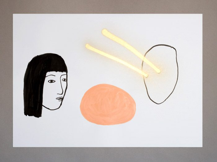 Andrea Gómez - DOBLE VISIÓN / DRAWING 2013 TW · FB Ink, acrylic and golden spray on paper. 100 x 70 cm