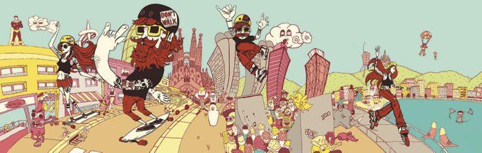 Ilustración para escaparate de Inercia por alumnos del L'Idem Barcelona